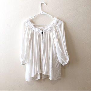 Moda International white flowy peasant top